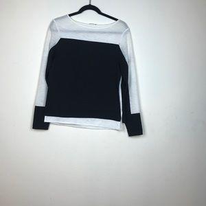Zara Collection- BW Lg sleeve layered top medium